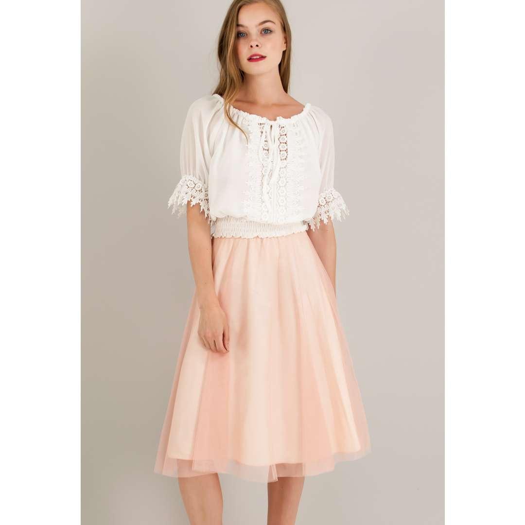 Μίνι τούλινη φούστα με λάστιχο στη μέση. ενδυματα   φουστεσ