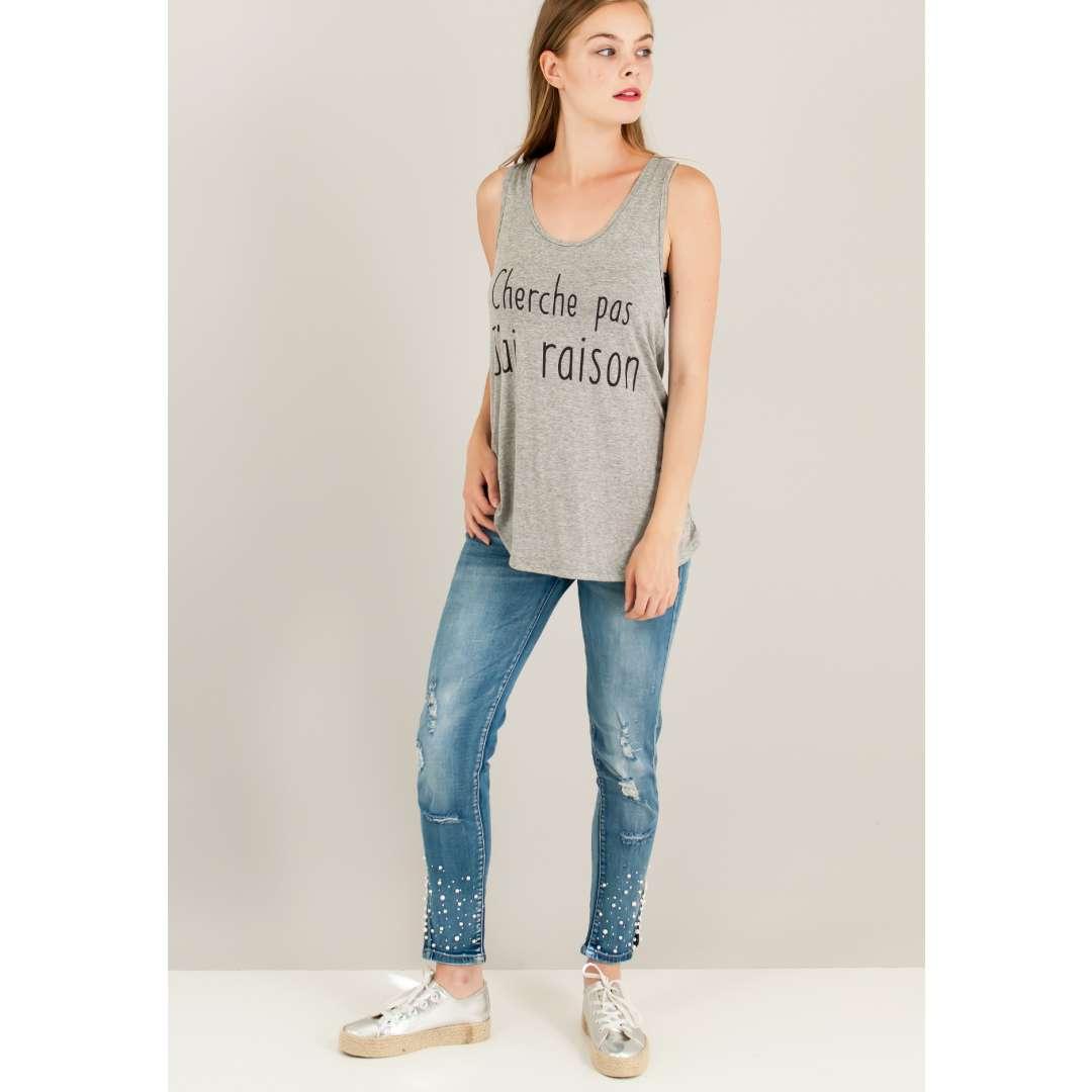 Loose τοπ με τύπωμα κείμενο. ενδυματα   μπλουζεσ τοπ   basic μπλούζες