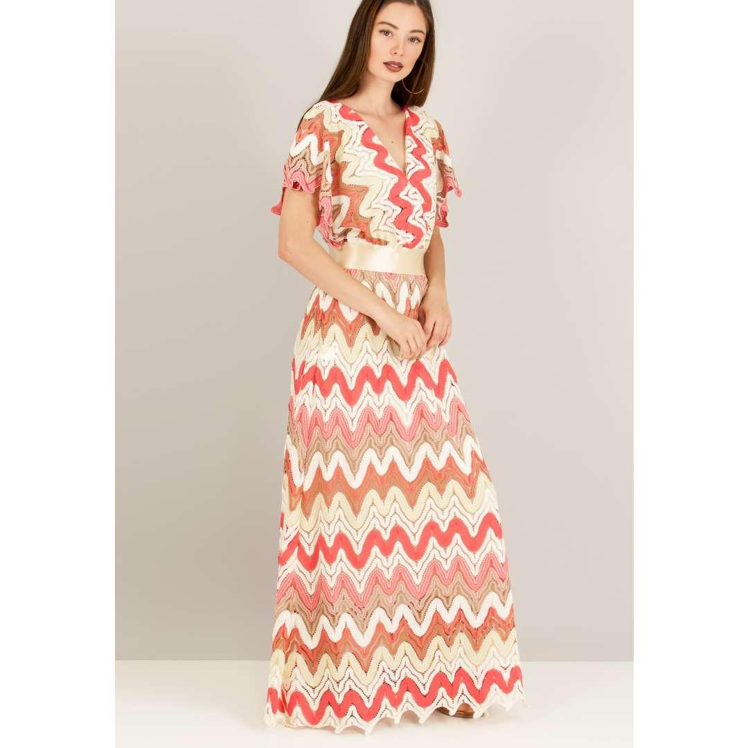 Maxi πολύχρωμο πλεκτό φόρεμα.
