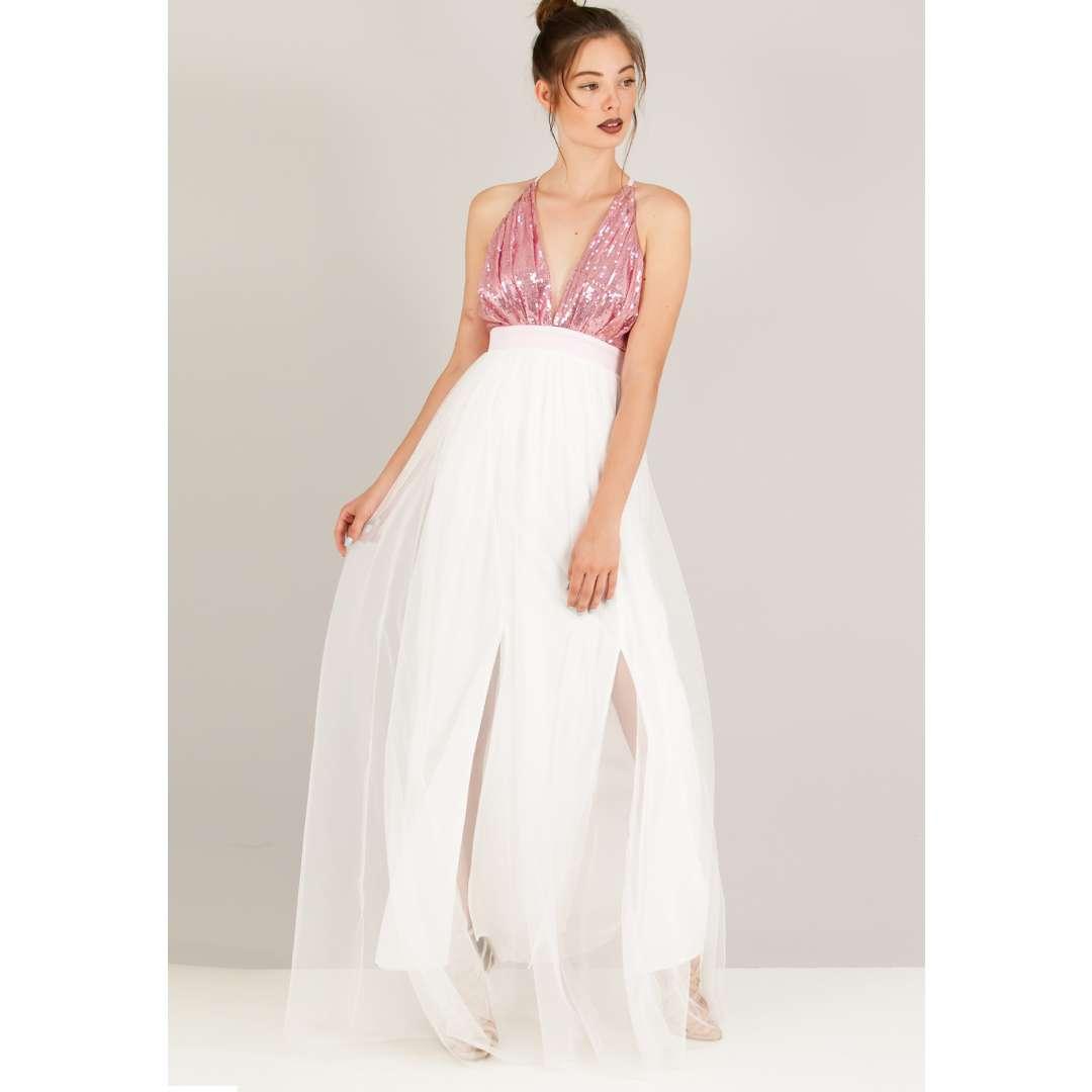 Φόρεμα με παγέτες στο μπούστο. ενδυματα   φορεματα   μακριά φορέματα