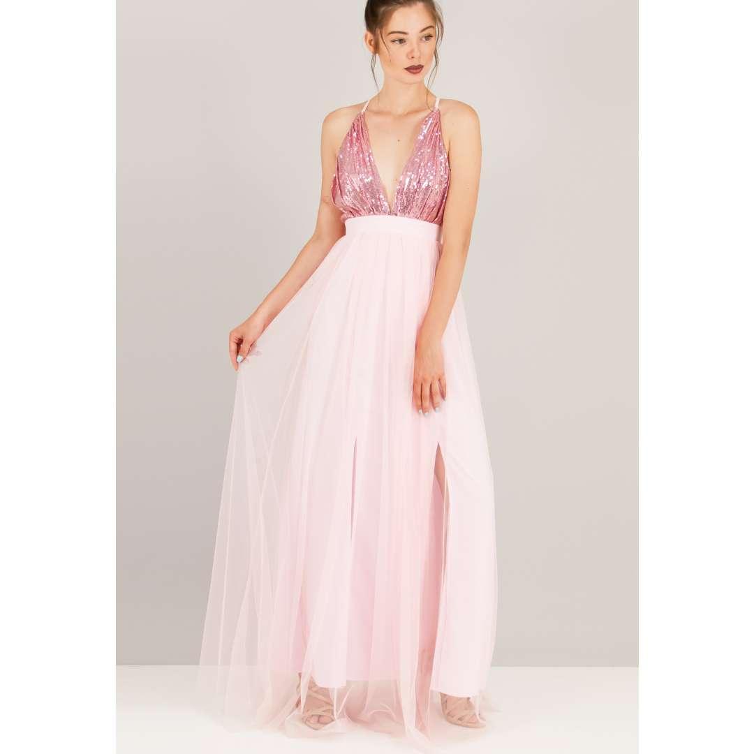 Φόρεμα με παγέτα στο μπούστο. ενδυματα   φορεματα   μακριά φορέματα