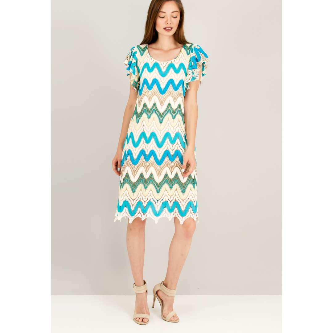 Πολύχρωμο μίνι πλεκτό φόρεμα.