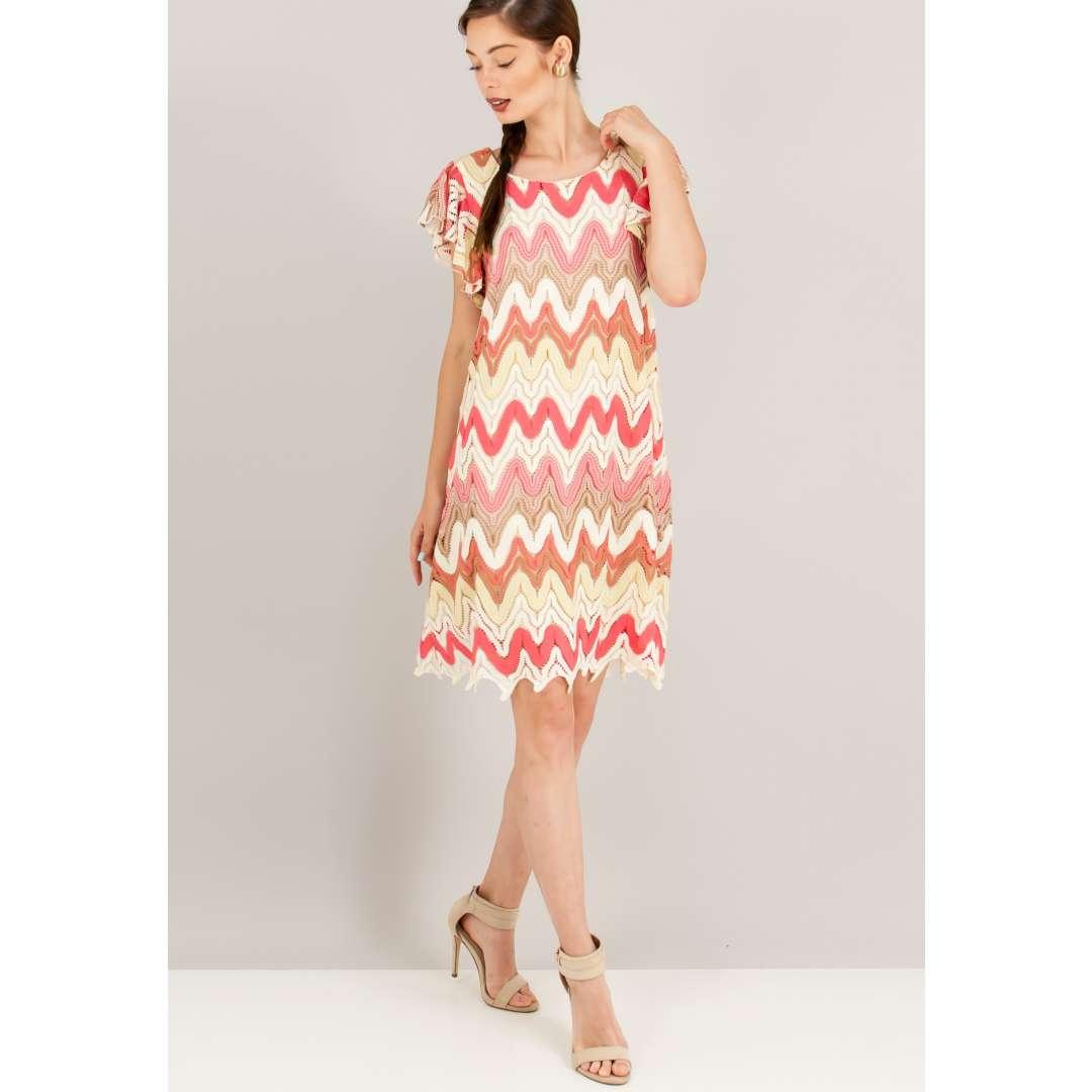 Πολύχρωμο πλεκτό μίνι φόρεμα.