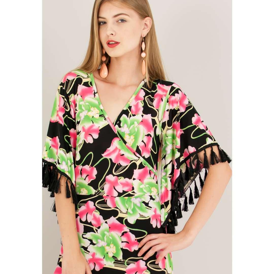 Φλοράλ κρουαζέ φόρεμα με λεπτομέρειες φουντάκια.
