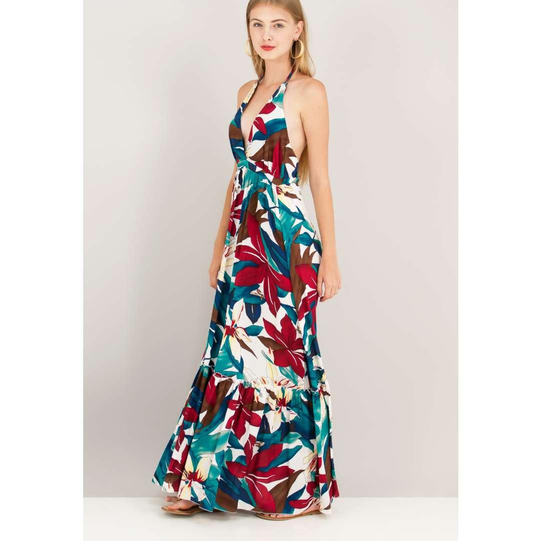 Eμπριμέ φόρεμα με δέσιμο στο λαιμό.