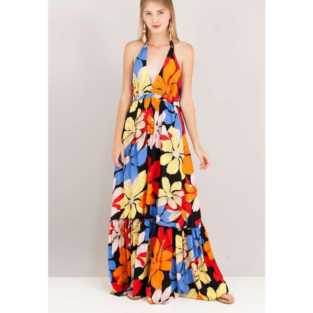 Eμπριμέ φόρεμα με χαμηλή πλάτη.