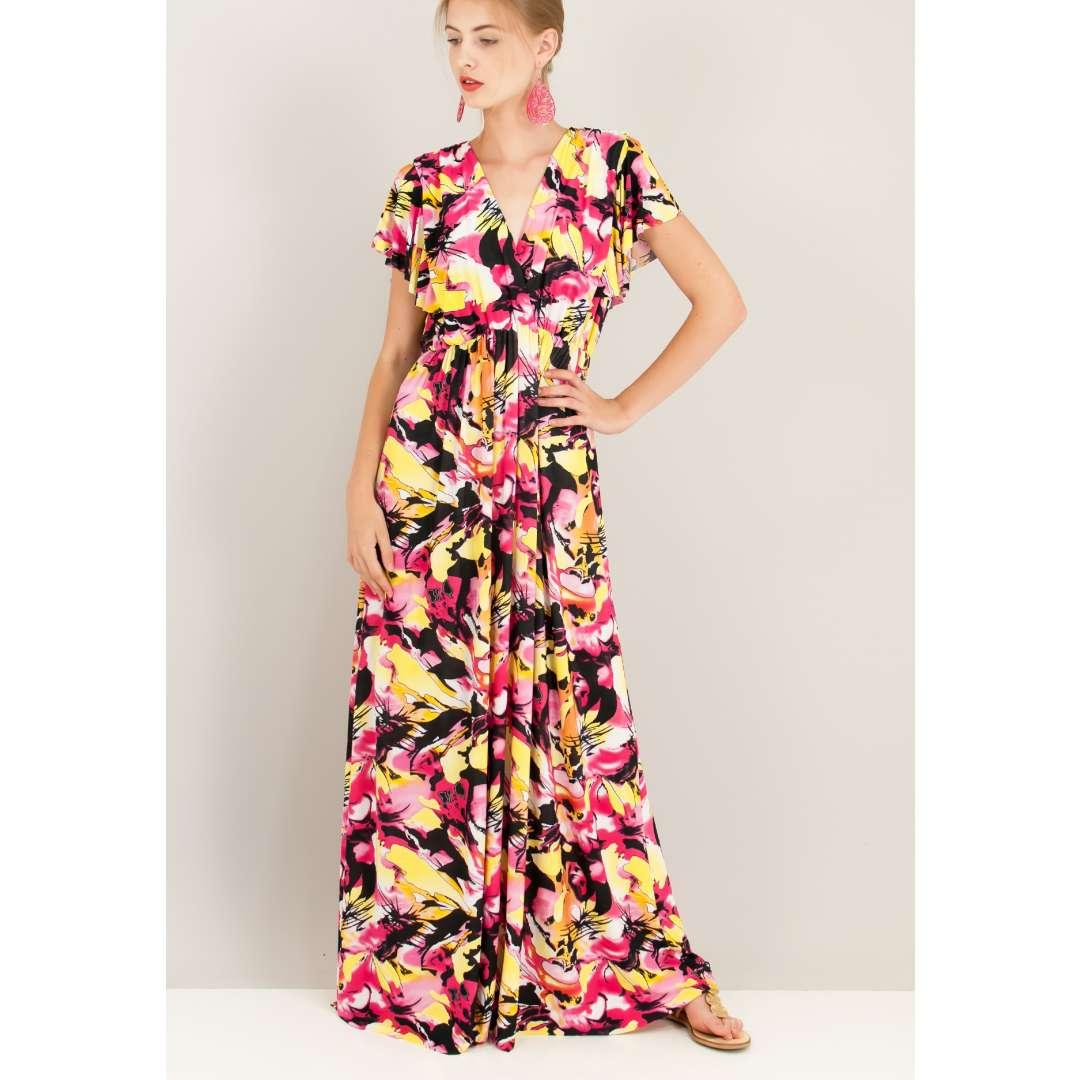Loose εμπριμέ κρουαζέ φόρεμα.