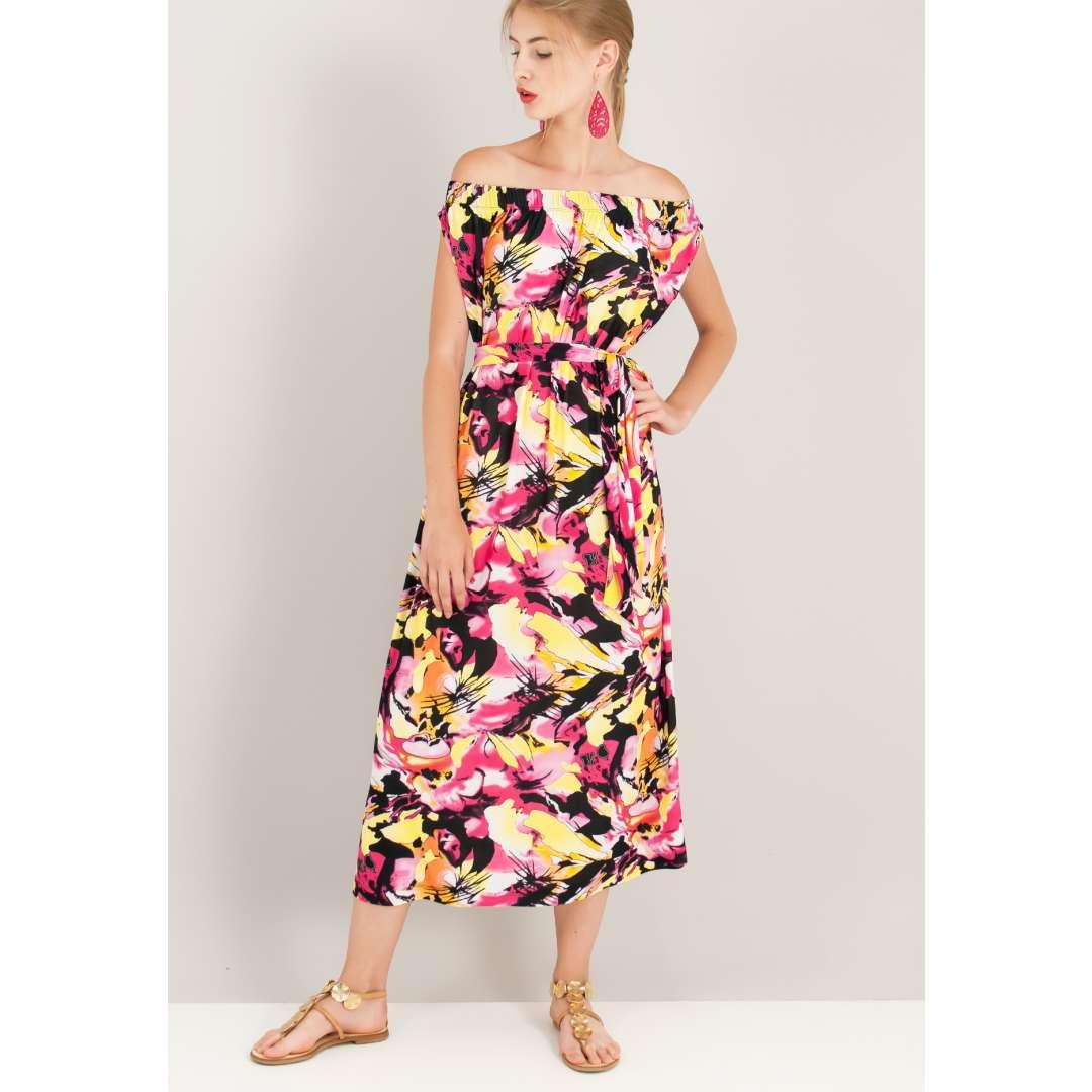 Μίντι εμπριμέ φόρεμα με έξω τους ώμους. ενδυματα   φορεματα   μίντι φορέματα
