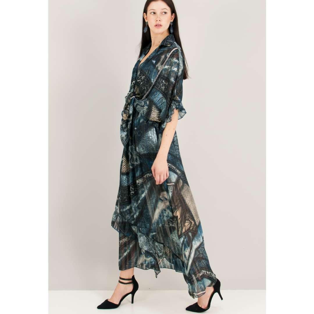 Μακρύ εμπριμέ φόρεμα με δέσιμο μπροστά. ενδυματα   φορεματα   εμπριμέ φορέματα