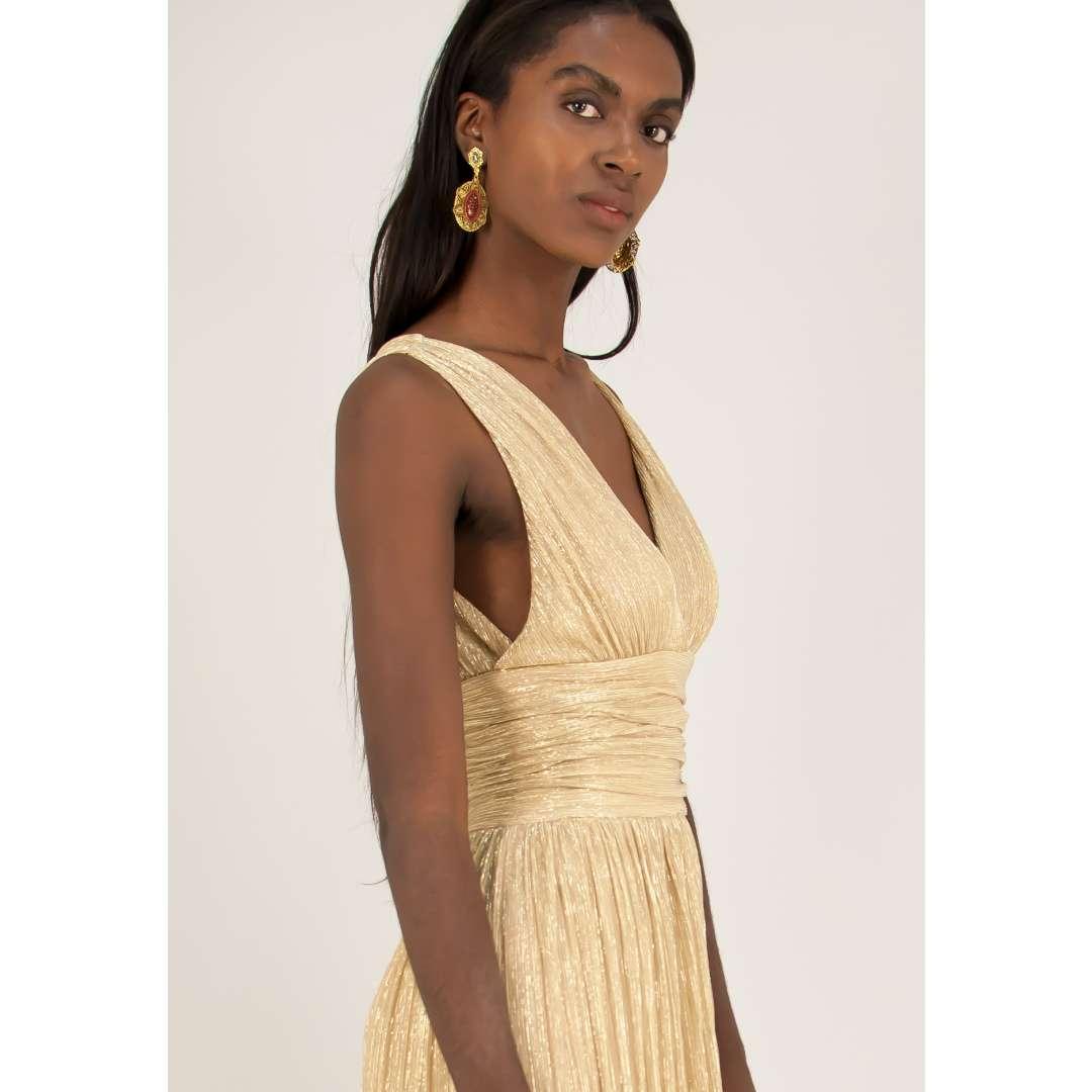 Λούρεξ κρουαζέ φόρεμα με σούρες.