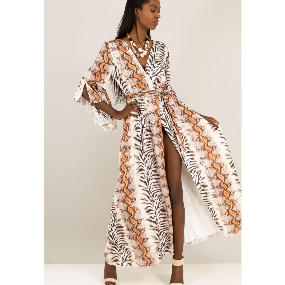 Φόρεμα με τύπωμα φίδι.