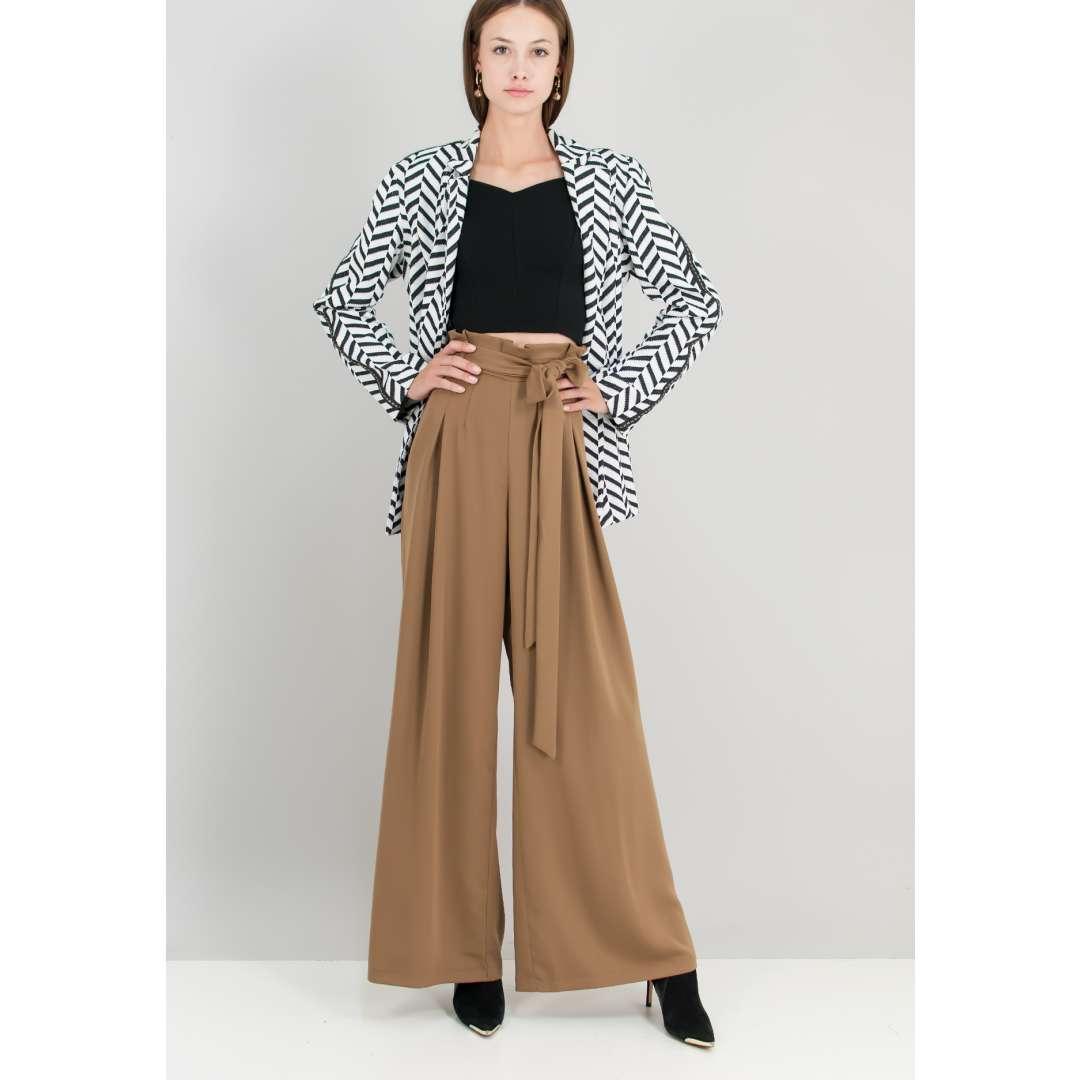 Ψηλόμεσο παντελόνι με πιέτες μπροστά. ενδυματα   παντελονια κολαν