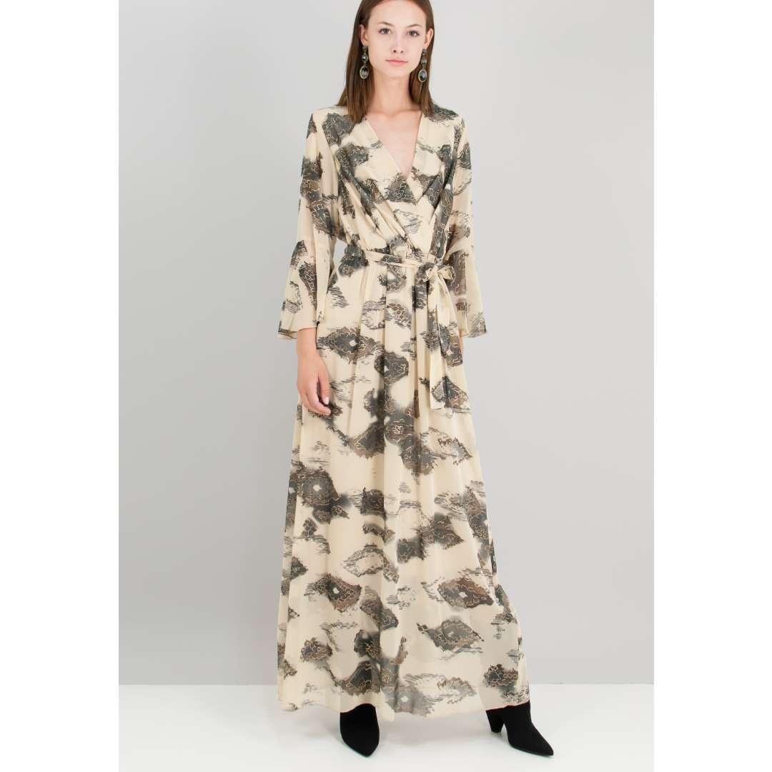 Εμπριμέ φόρεμα με βολάν στο μανίκι. ενδυματα   φορεματα   κρουαζέ φορέματα