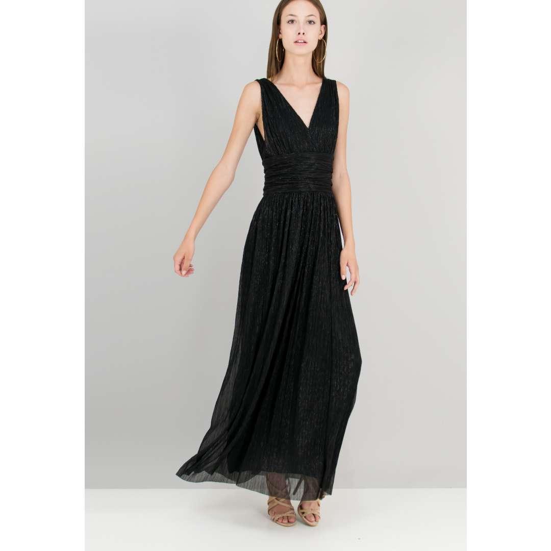 Λούρεξ φόρεμα με λεπτομέρεια σούρες.