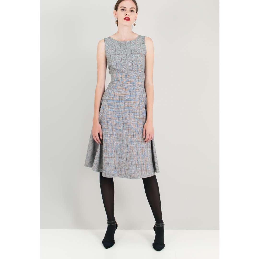 Μίντι καρό φόρεμα.