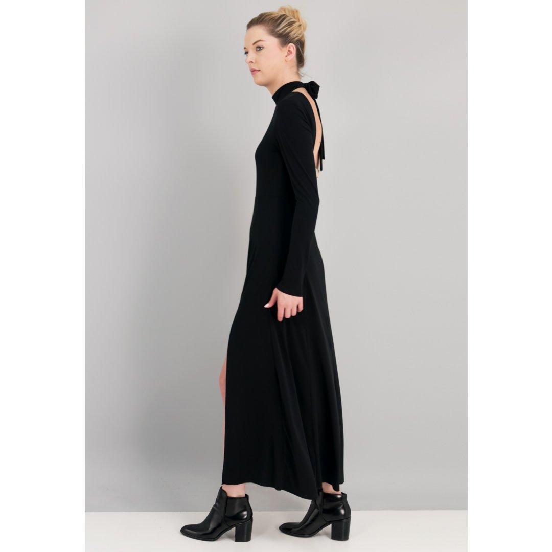 Maxi μαύρο φόρεμα με δέσιμο στο λαιμό και ανοιχτή πλάτη. ενδυματα   φορεματα