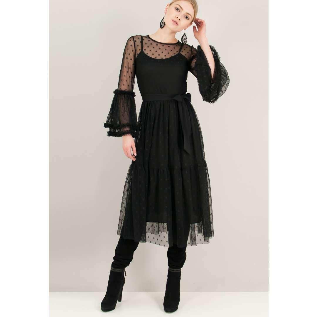 Μίντι φόρεμα από δίχτυ με ανάγλυφο μοτίβο. 8b2d8ebccde