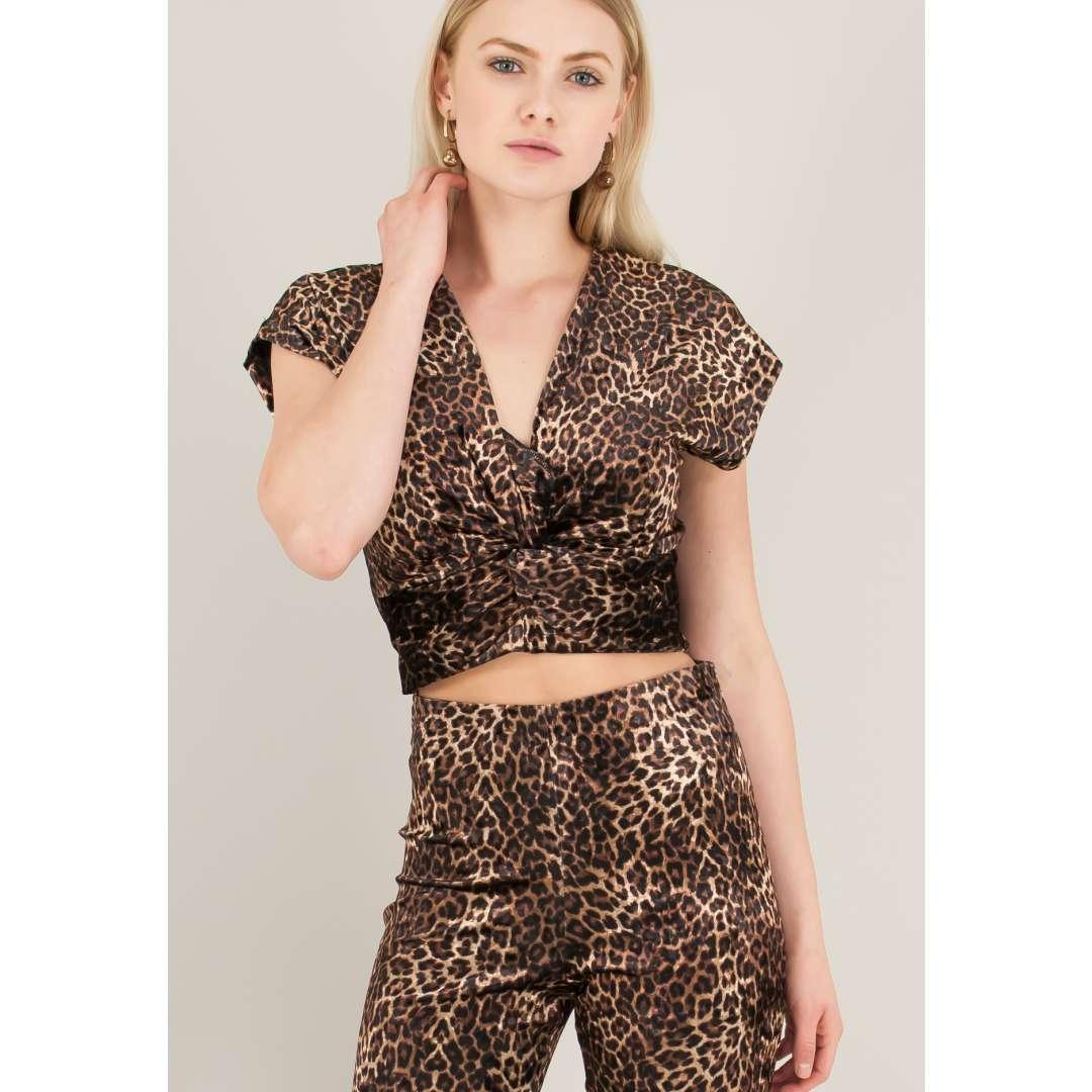 Animal print βελούδινο crop top. ενδυματα   μπλουζεσ τοπ   cropped μπλούζες