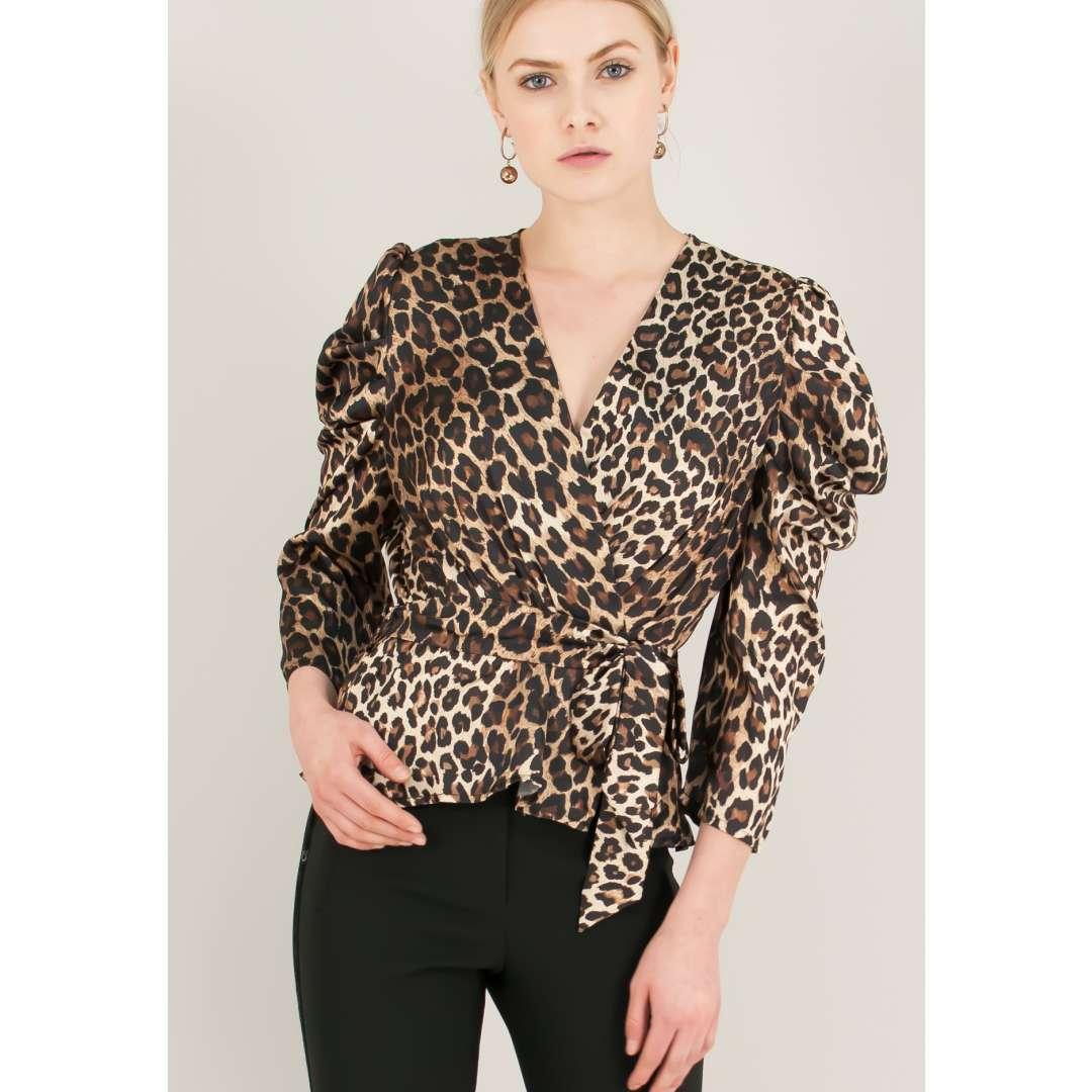 Animal print δετό πουκάμισο