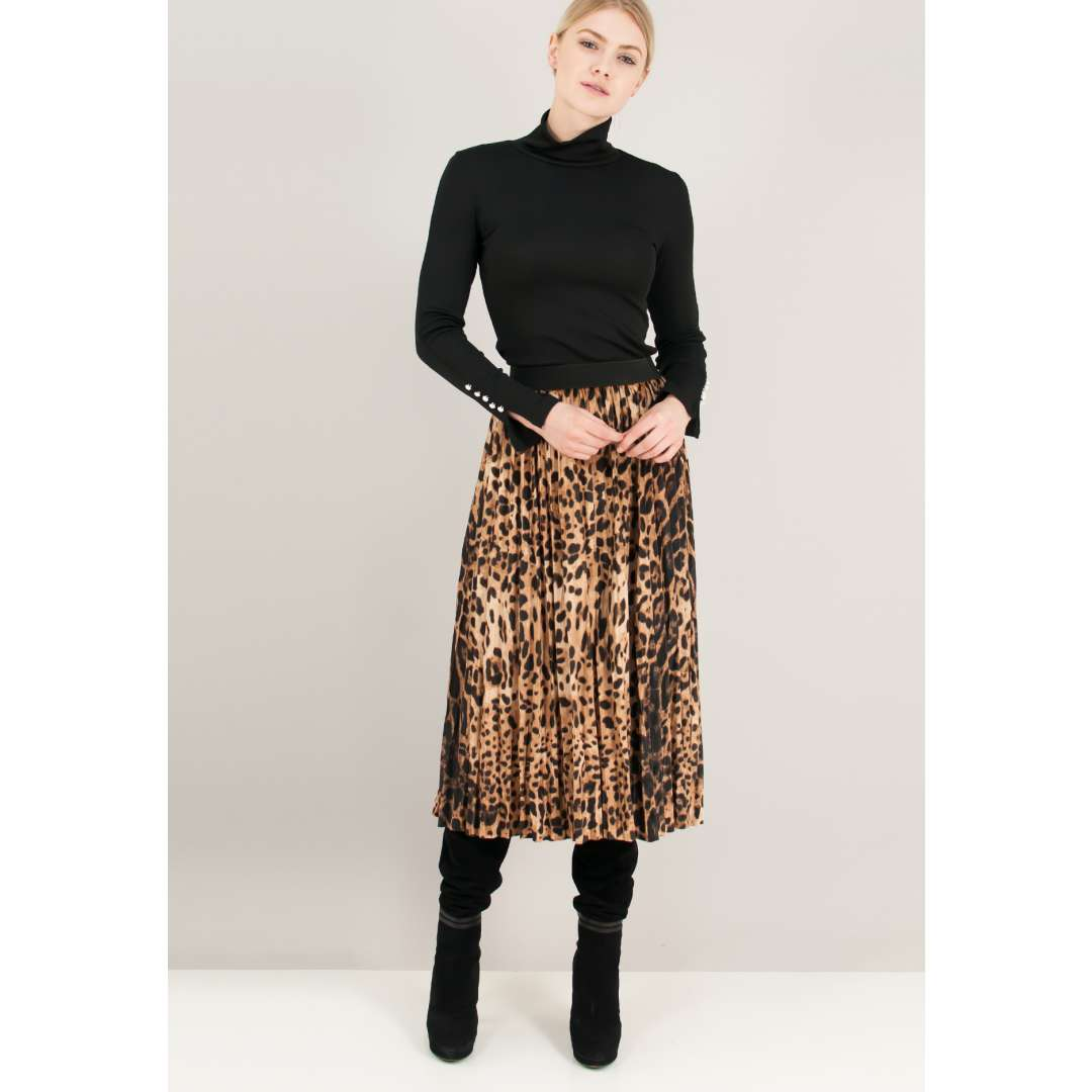 Animal print βελούδινη φούστα