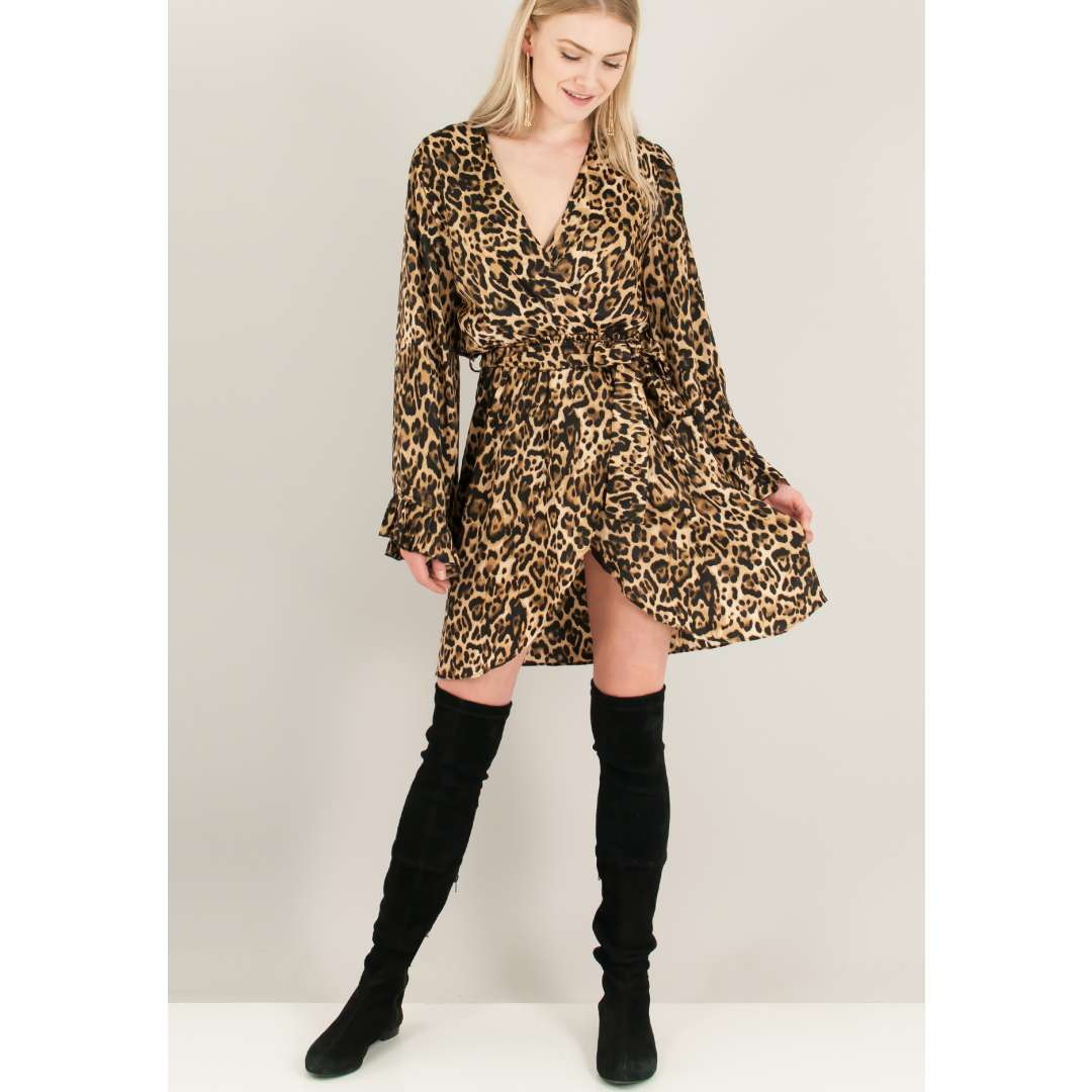 Animal print κρουαζέ φόρεμα