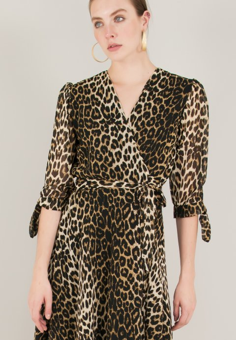 Animal print δετό κρουαζέ φόρεμα 478d742ea24