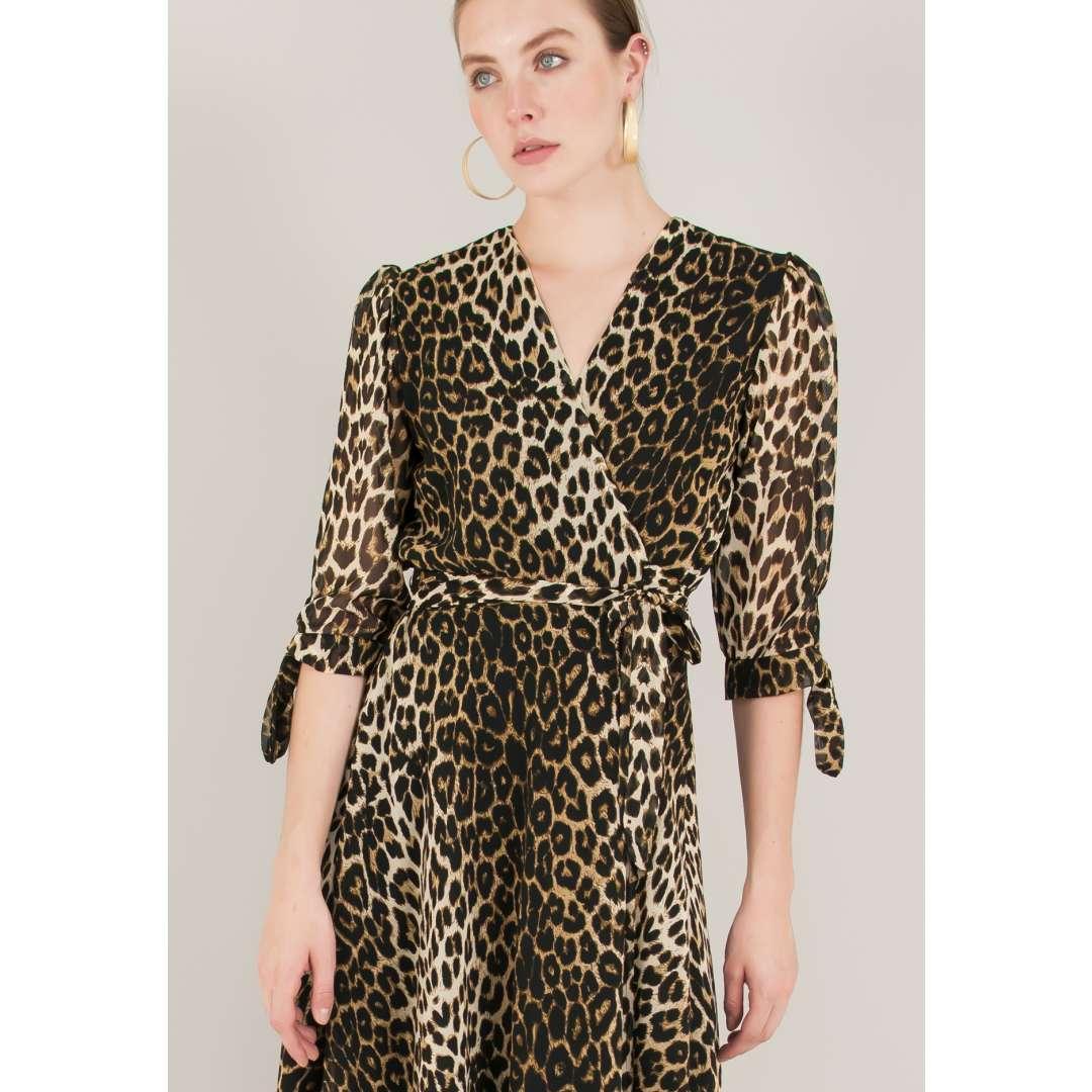 Animal print δετό κρουαζέ φόρεμα ενδυματα   φορεματα   μίντι φορέματα
