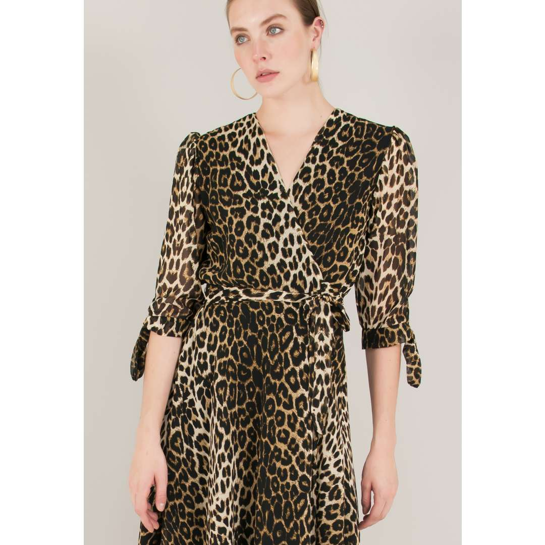 Animal print δετό κρουαζέ φόρεμα