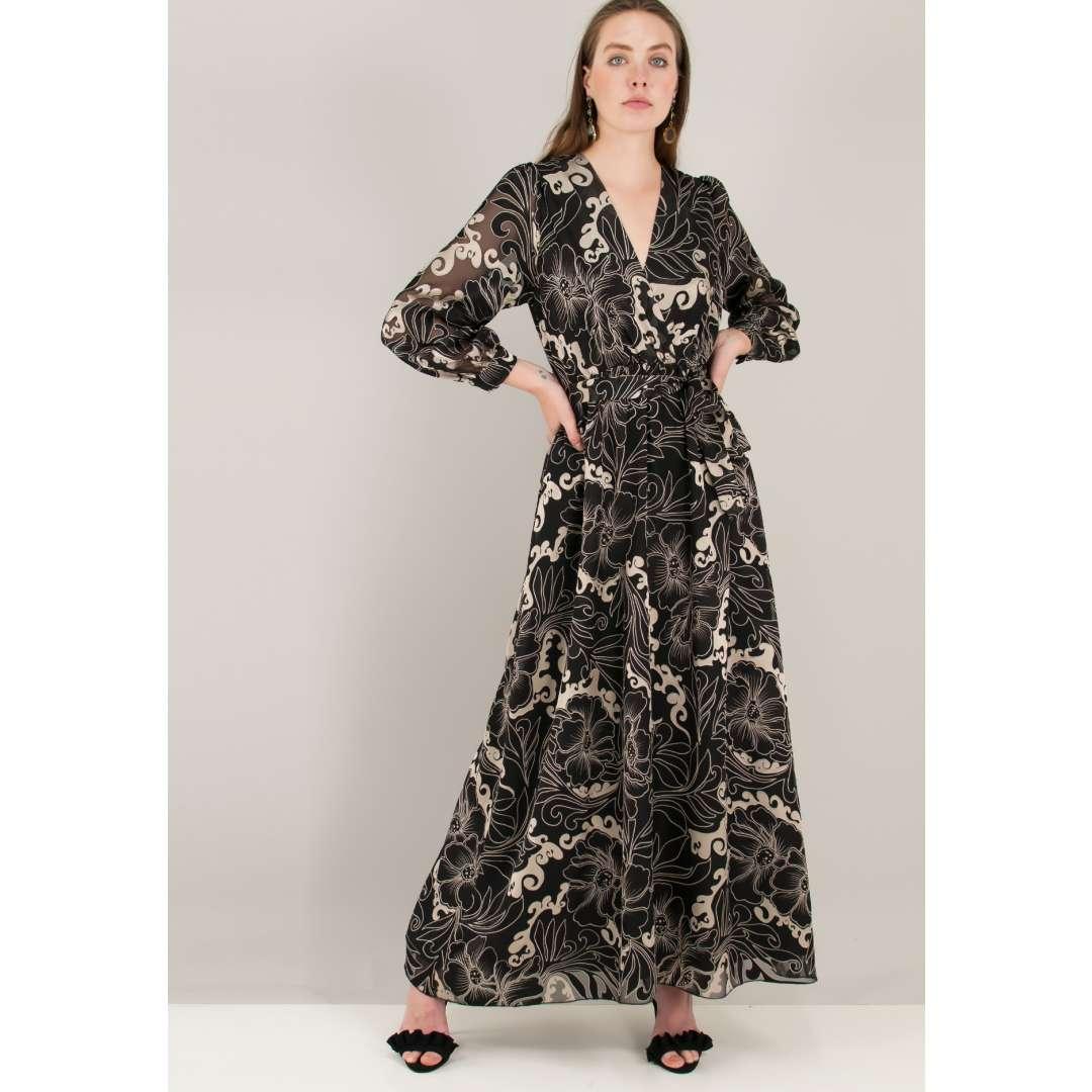 Εμπριμέ φόρεμα με ανάγλυφο σχέδιο 79db33f99cc