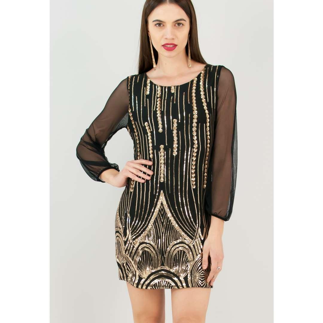 Φόρεμα από δίχτυ και κέντημα παγιέτες ενδυματα   φορεματα   εφαρμοστά φορέματα