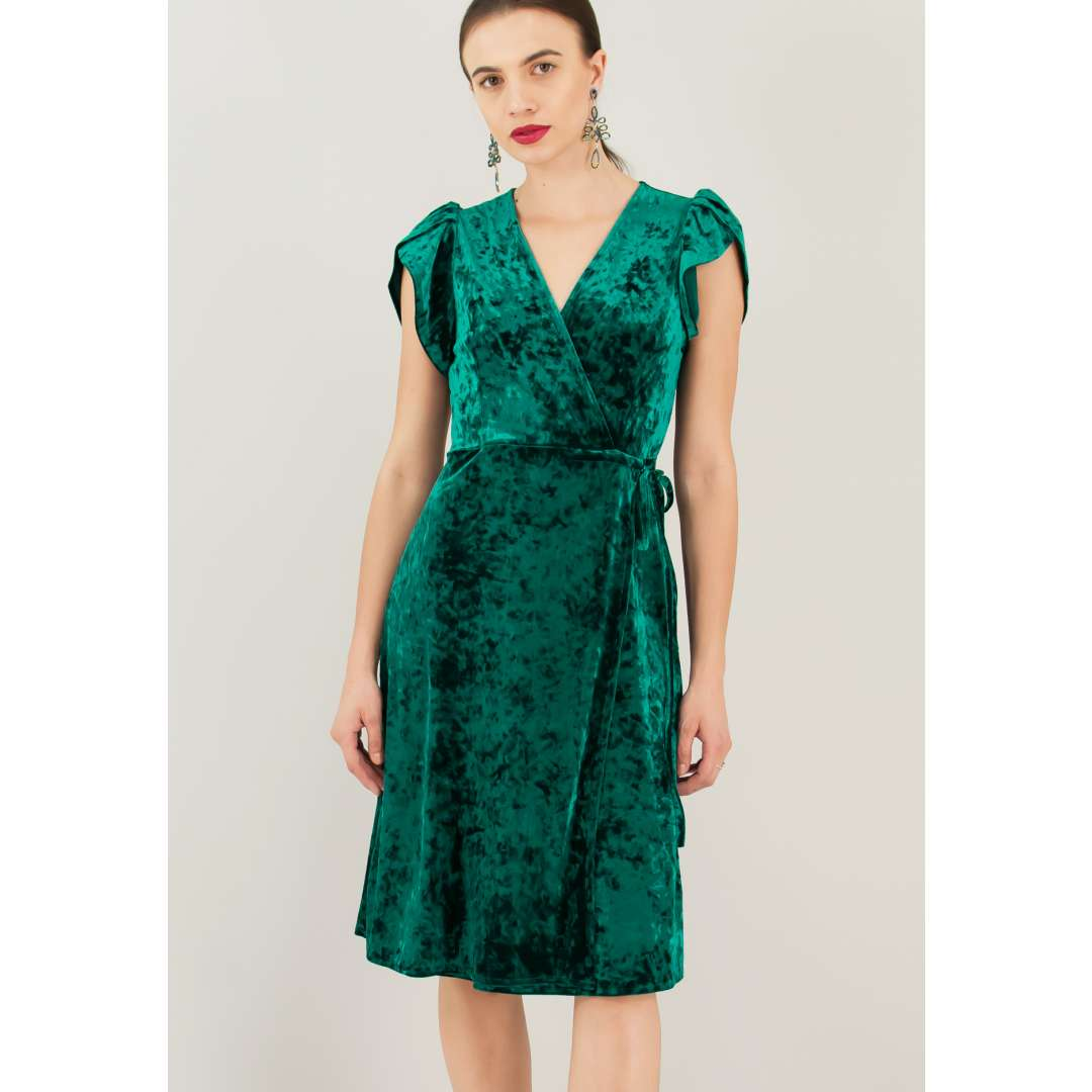 Βελούδινο φόρεμα με κρουαζέ σχέδιο ενδυματα   φορεματα   κρουαζέ φορέματα