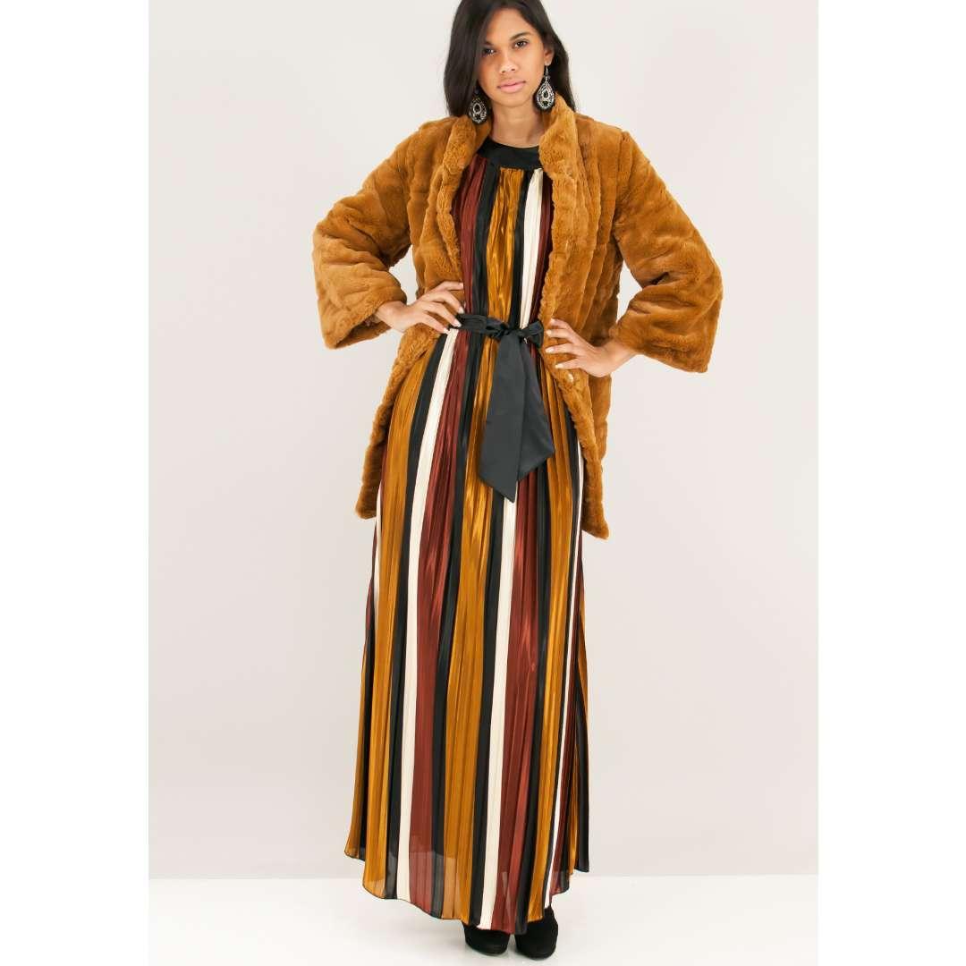 Σατέν πλισέ φόρεμα ενδυματα   φορεματα   μακριά φορέματα
