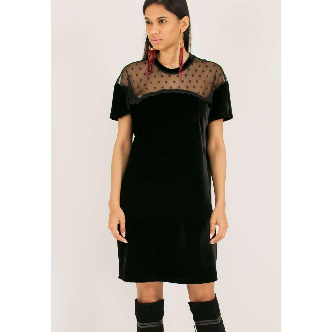 Βελούδινο φόρεμα με δίχτυ στους ώμους