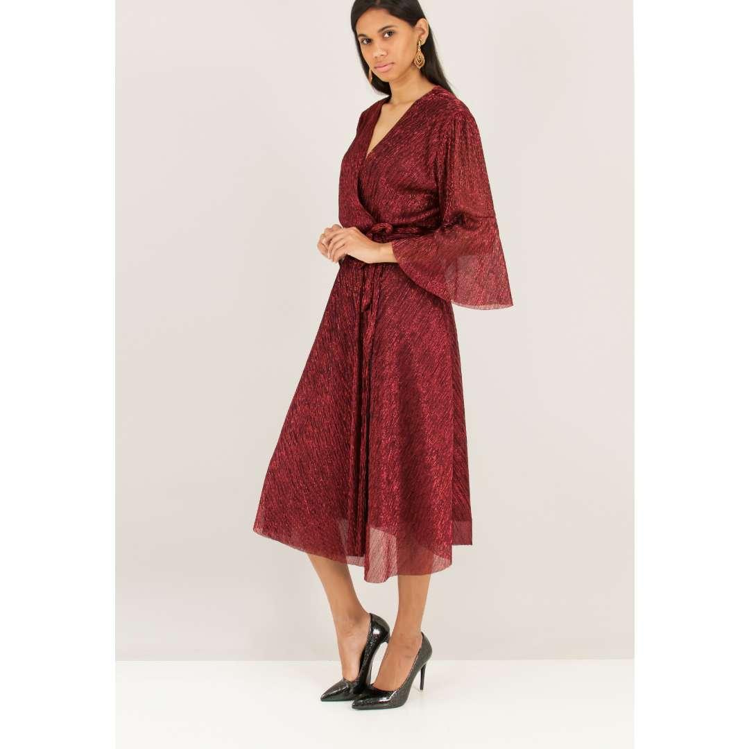 Μίντι λούρεξ δετό φόρεμα