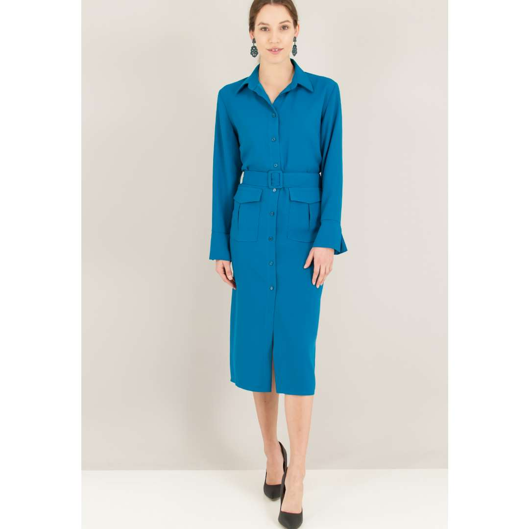 Φόρεμα σε στιλ πουκάμισο με τσέπες. ενδυματα   φορεματα   shirt φορέματα