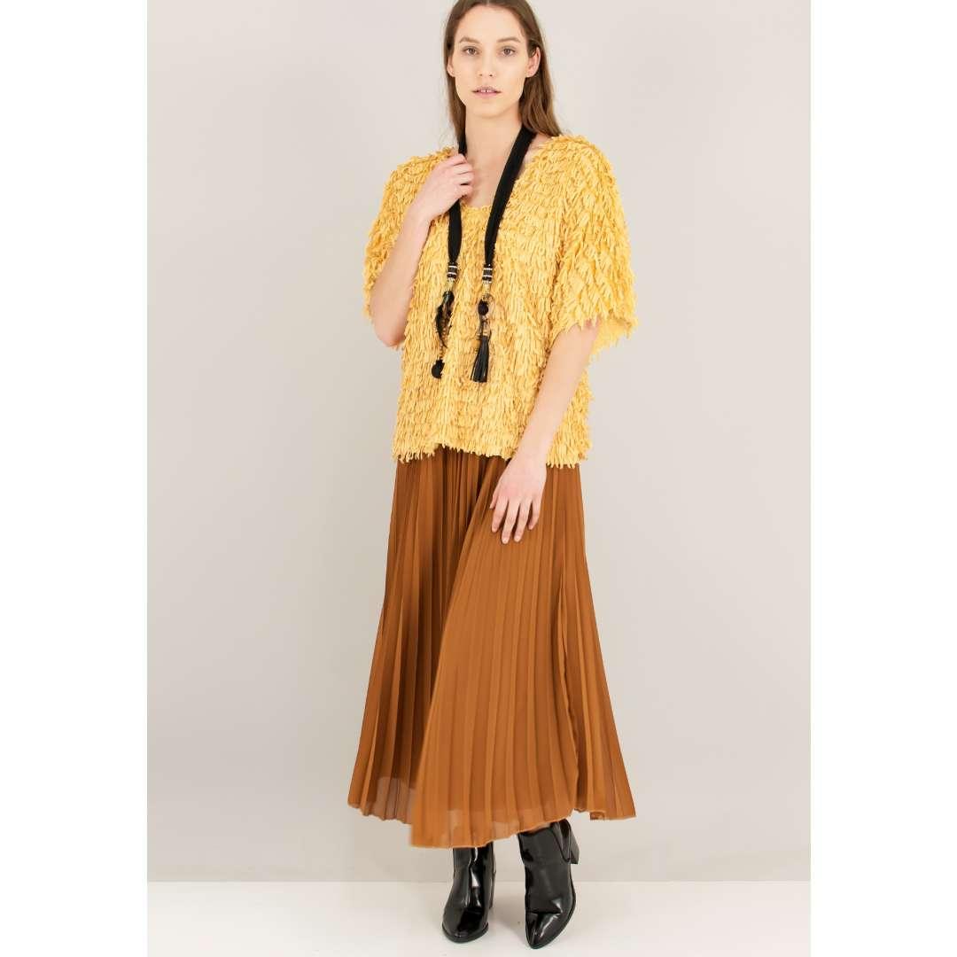 Πλεκτή loose μπλούζα με κρόσσια ενδυματα   μπλουζεσ τοπ   όλα