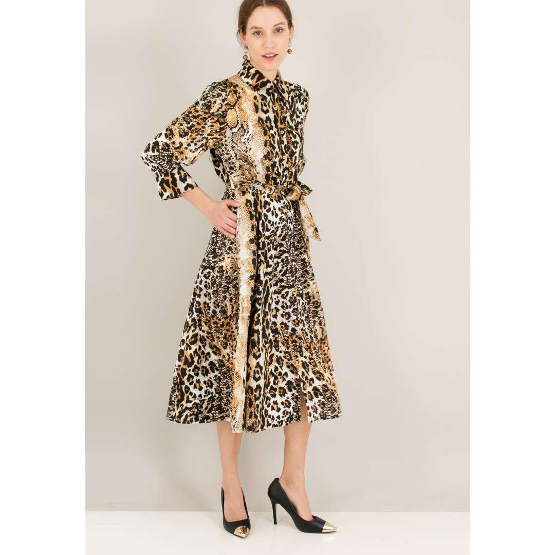 Animal print φόρεμα σε στιλ πουκάμισο ενδυματα   φορεματα   shirt φορέματα