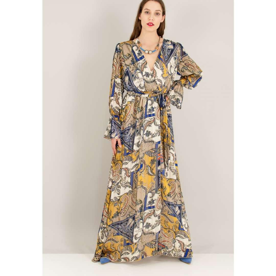 Maxi δετό κρουαζέ φόρεμα