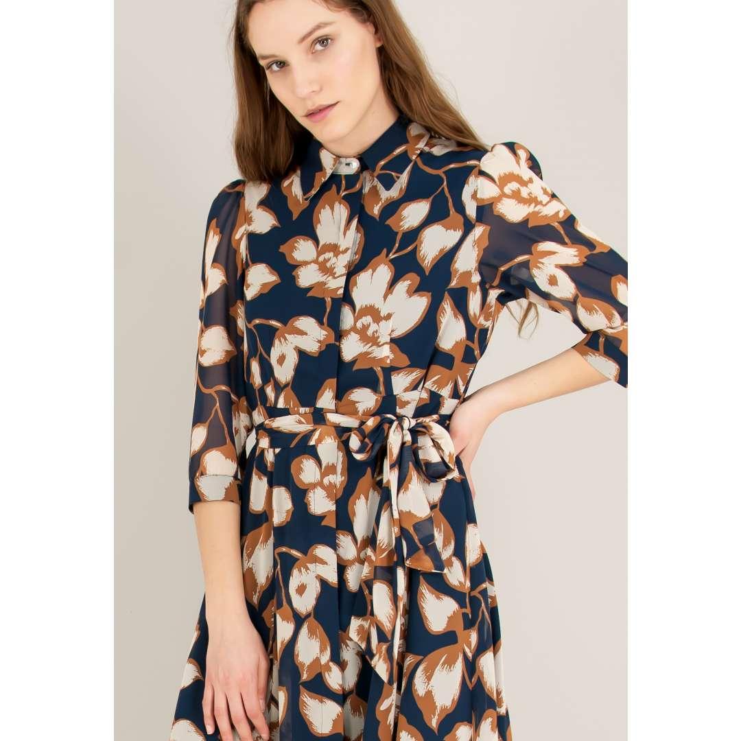 Μίντι εμπριμέ φόρεμα σε στιλ πουκάμισο