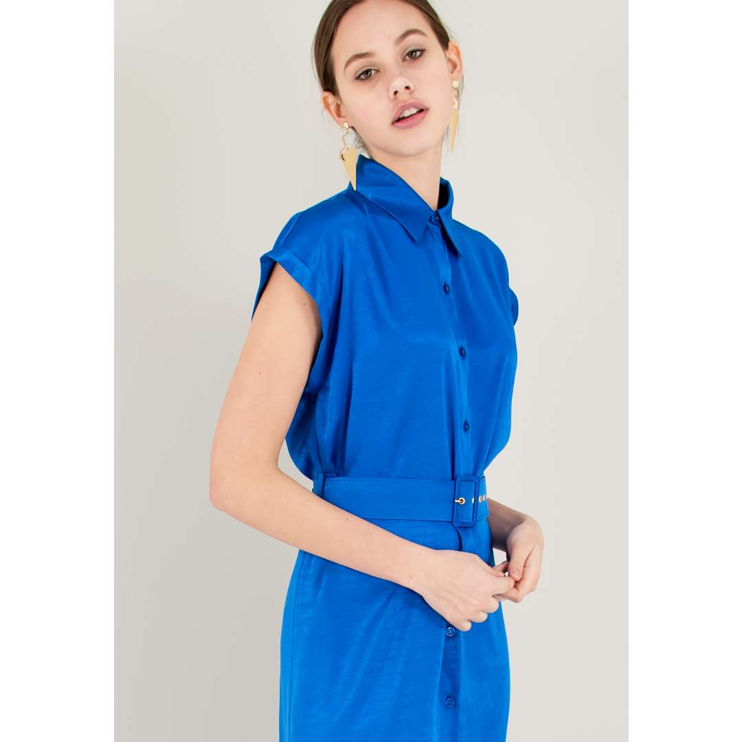 Μίντι σατέν φόρεμα με κουμπιά και ζώνη ενδυματα   φορεματα   shirt φορέματα