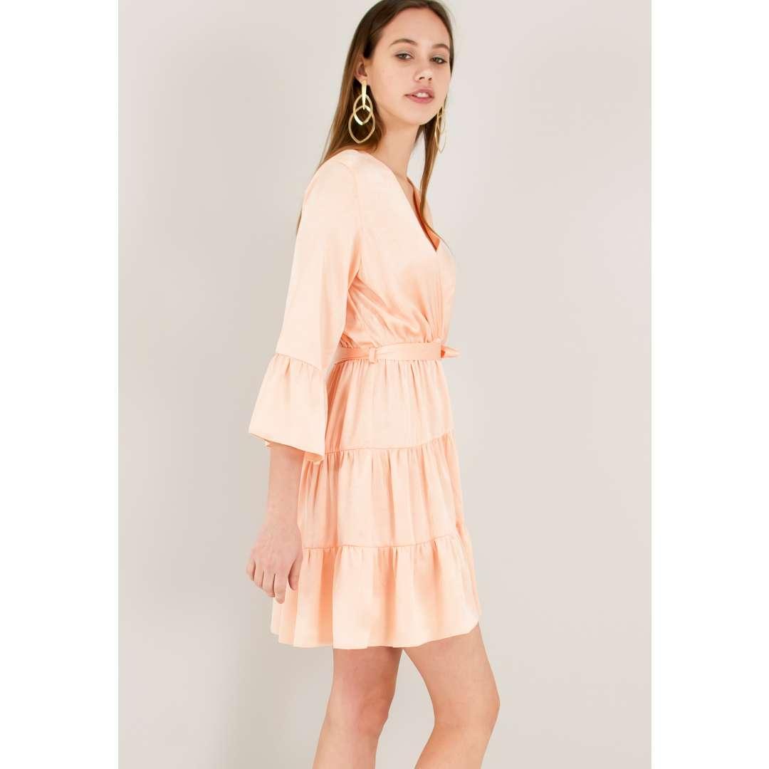 Σατέν φόρεμα με βολάν ενδυματα   φορεματα   μίνι φορέματα