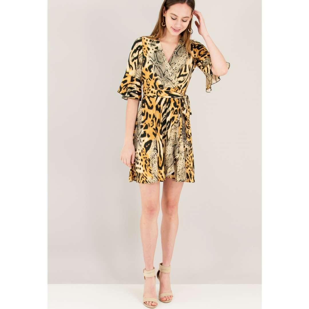 Animal print κρουαζέ φόρεμα ενδυματα   φορεματα   κρουαζέ φορέματα