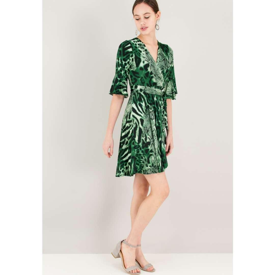 Animal print φόρεμα με βολάν στο μανίκι