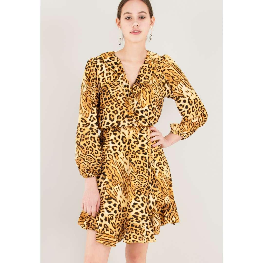 Animal print φόρεμα με λεπτομέρεια βολάν ενδυματα   φορεματα   κρουαζέ φορέματα