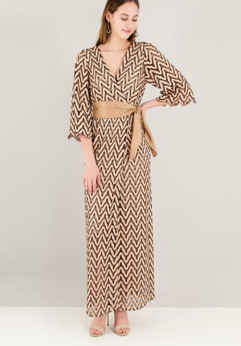 Maxi πλεκτό κρουαζέ φόρεμα b4a1ea866fc