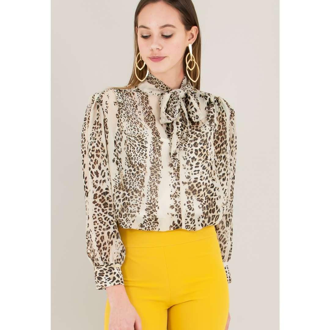 Animal print μπλούζα με δέσιμο μπροστά ενδυματα   πουκαμισα