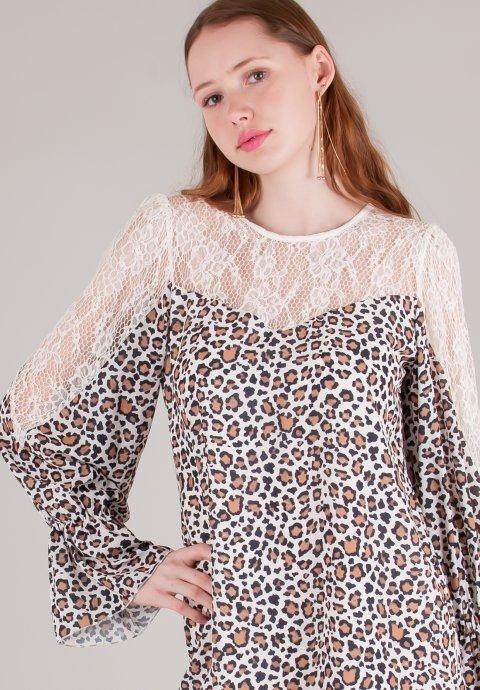 Animal print φόρεμα με λεπτομέρεια δαντέλα 5ac7f02ae4f