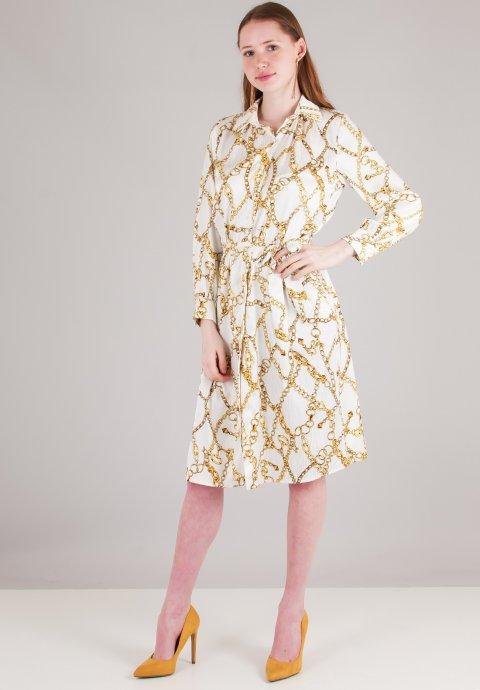 Φόρεμα με τύπωμα αλυσίδες σε στιλ πουκάμισο 00bfee2349a