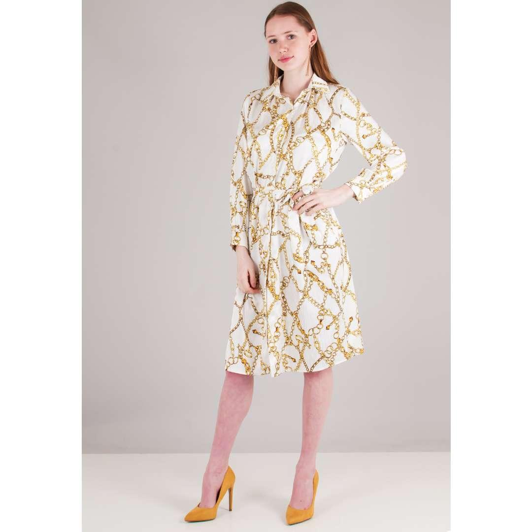 Φόρεμα με τύπωμα αλυσίδες σε στιλ πουκάμισο ενδυματα   φορεματα   shirt φορέματα