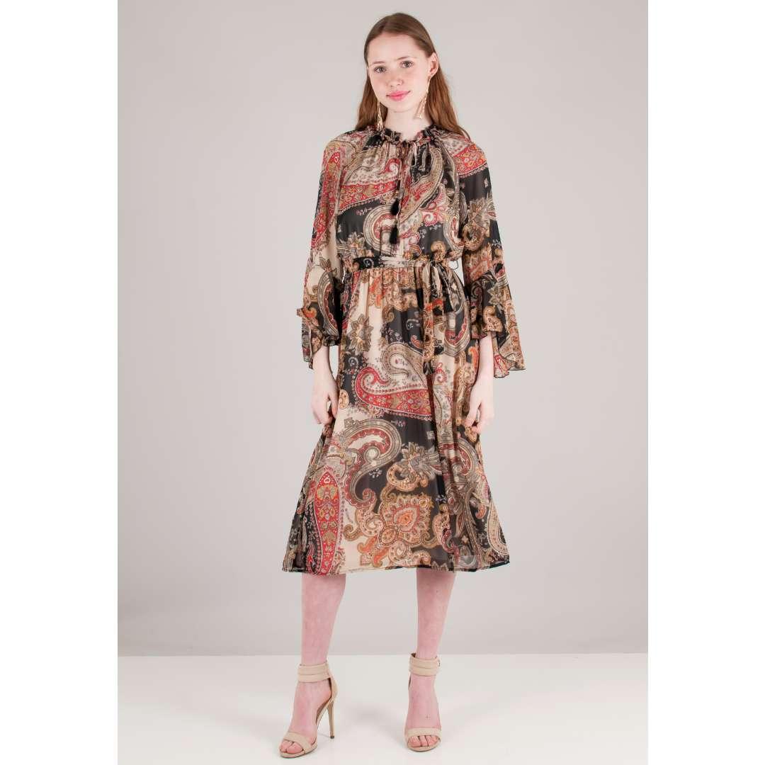 Μίντι εμπριμέ φόρεμα με δέσιμο στο λαιμό ενδυματα   φορεματα   μίντι φορέματα